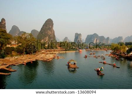 Yulong River in Guilin, Guangxi  Province, China - stock photo