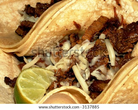 Yummy Beef Tacos with Lime Slice