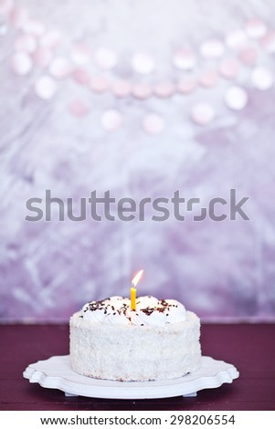 Yummy Birthday White Cake With Candle, On Pink Background. Bday Card - stock photo