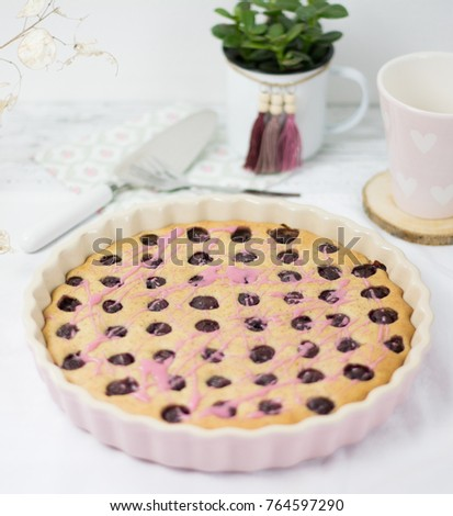 Yummy Cherry Pie in pink baking tin with lovely decoration