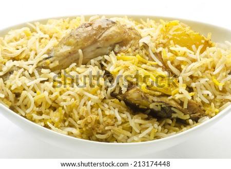 Yummy chicken biriyani - stock photo
