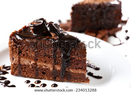 Yummy chocolate cake, close-up - stock photo