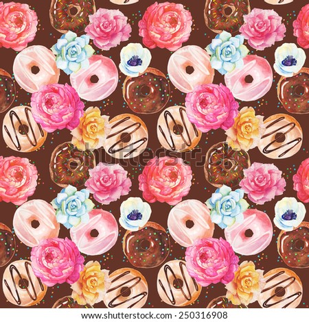 Yummy colorful chocolate donuts seamless pattern. Watercolor. - stock photo