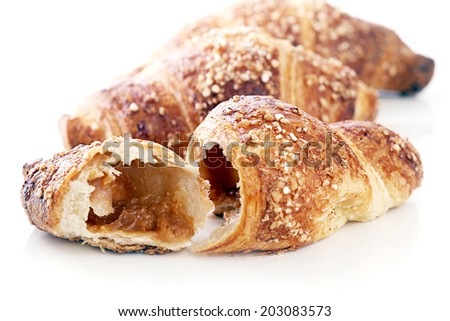 Yummy croissants on a white background