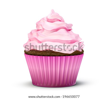 yummy cupcake isolated on a white background