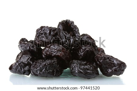 yummy dried plums isolated on white - stock photo