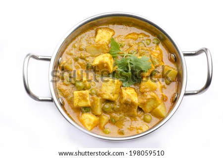 Yummy Paneer Curry with piece - stock photo