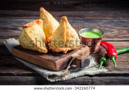Yummy samosa with vegetables - stock photo