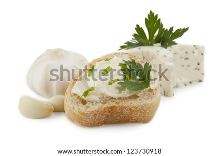 Yummy toast with herb butter spread