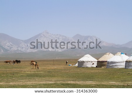 Yurt at Song Kol lake in Kyrgyzstan mountains. Central Asia