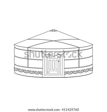 Yurt of nomads. Coloring book page for adults and children. Black outline isolated on white. - stock photo