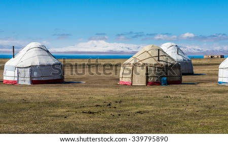Yurts at Song Kol lake in Kyrgyzstan mountains. - stock photo