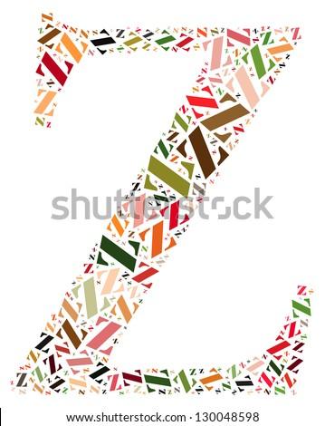 Z alphabet cloud/collage with alphabet shape - stock photo