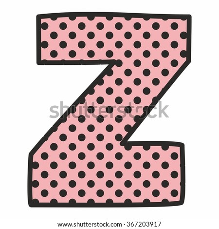 Z alphabet letter with black polka dots on pink background isolated on white