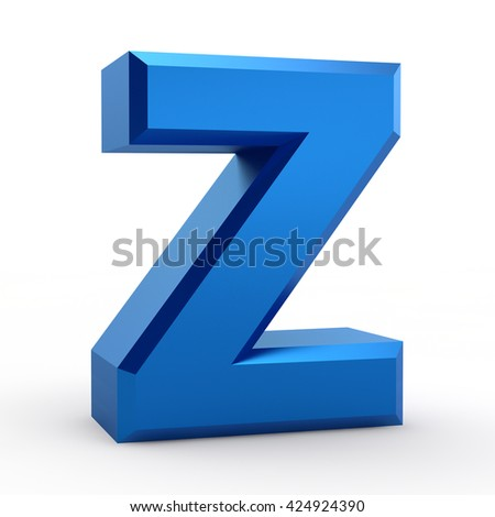 Z blue alphabet word on white background illustration 3D rendering