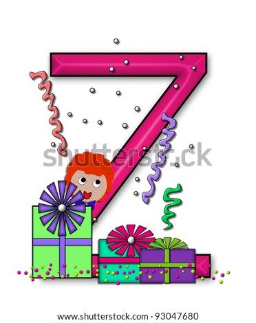 """Z, in the alphabet set """"Birthday Letters"""", is surrounded by colorfully wrapped presents complete with bows.  Woman hides behind presents and peeks out pretending surprise. - stock photo"""