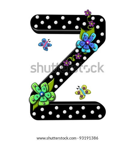 """Z, in the alphabet set """"Funny Flowers"""", is decorated with mod flowers in three layers.  Flowers have butterflies and vines.  Letters are shiny black with 3D polka dots. - stock photo"""