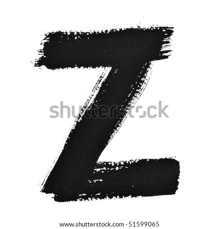 Z - Ink letters isolated over the white background
