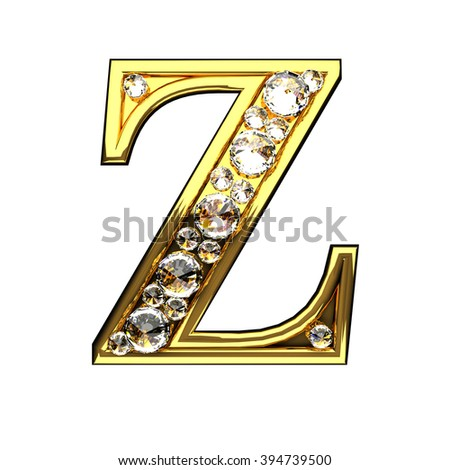 z isolated golden letters with diamonds on white