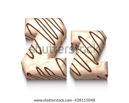 Z letter of white chocolate with brown cream in 3d rendered on white background. - stock photo