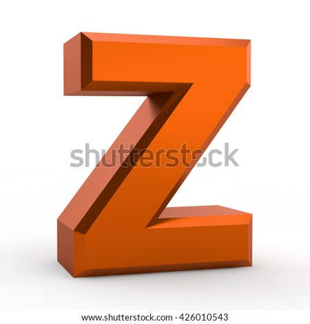 Z orange alphabet word on white background illustration 3D rendering