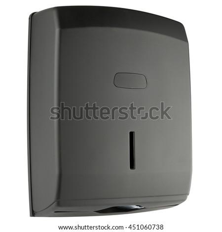 Z type paper towel dispenser made of black matte plastic - stock photo