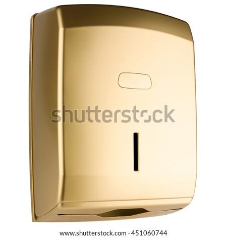 Z type paper towel dispenser made of golden matte plastic - stock photo