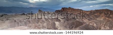 Zabriskie Point dusk panorama - stock photo