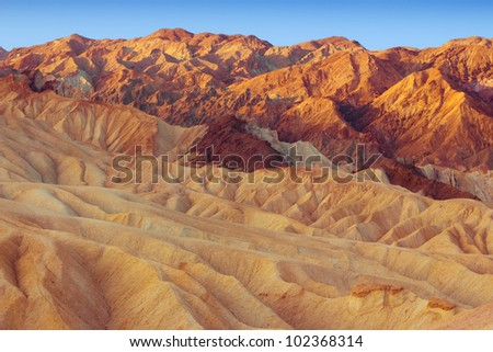 Zabriskie Point in Death Valley California National Park at sunrise - stock photo