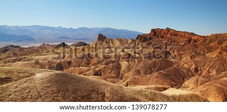 Zabriskie Point surrounded by a maze of vibrantly colored badlands