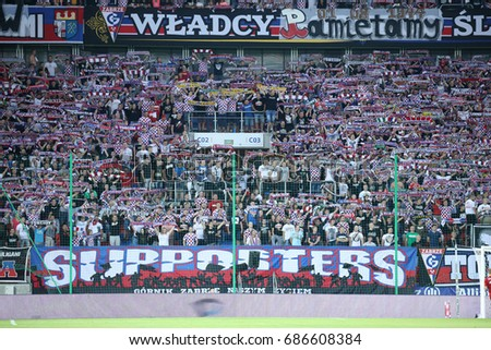 ZABRZE, POLAND - JULY 29, 2017: Polish Premier Football League Gornik Zabrze - Wisla Krakow o/p fans