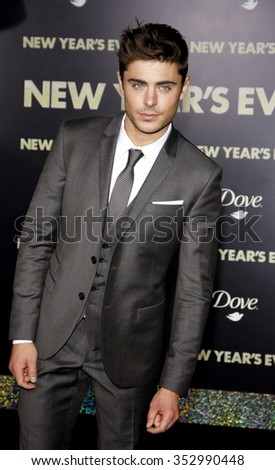"Zac Efron at the Los Angeles Premiere of ""New Year's Eve"" held at the Grauman's Chinese Theater, California, United States on December 5, 2011.  - stock photo"