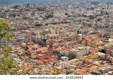 Zacatecas is a former Spanish colonial silver mining town with a lot of colonial architecture in Central Mexico - stock photo