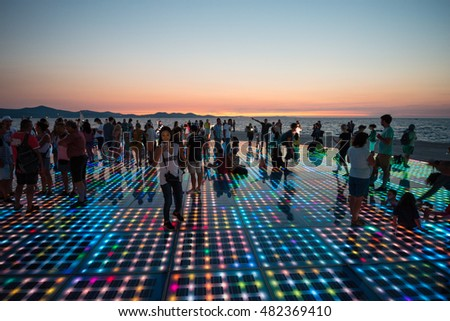 ZADAR, CROATIA - SEPTEMBER 1, 2016: Greeting to the Sun after sunset. Circular solar panel urban installation consists of 300 multilayer glass panels in form of a 22 m diameter circle