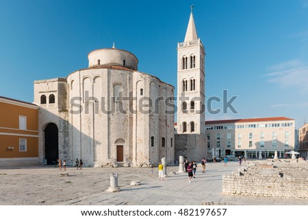 ZADAR, CROATIA - SEPTEMBER 1, 2016: St. Donat church, forum and Cathedral of St. Anastasia bell tower in Zadar, Croatia. Zadar is famous tourist spot at Adriatic sea coast in Dalmatia.