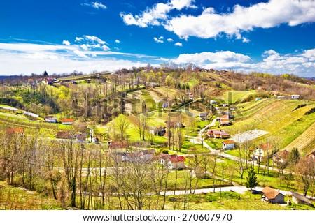 Zagorje region green vineyard hills aerial view, Croatia - stock photo