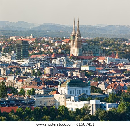 Zagreb (capitol of Croatia) cathedral with a old city panorama