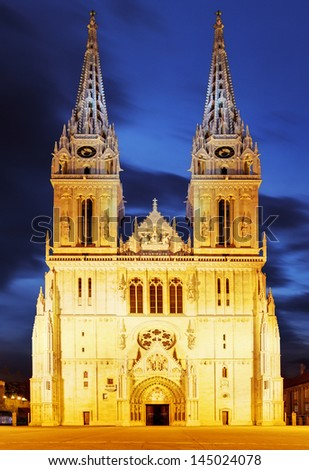 Zagreb cathedral at night - stock photo