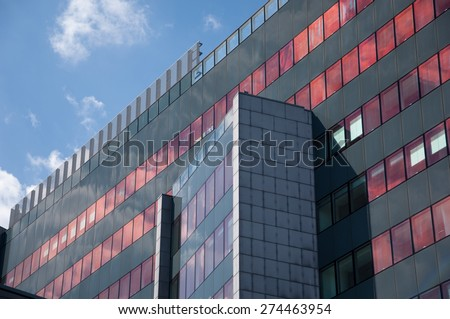 Zagreb, Croatia - April 19, 2015: Detail of modern arhitecture. Hypo Centre is a multifunctional business centre situated at the corner of Slavonska avenue and Marohnic Street in Zagreb. - stock photo