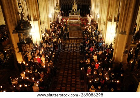 ZAGREB, CROATIA - 04 APRIL: Easter vigil mass on Holy Saturday in the Zagreb Cathedral on April 04, 2015 - stock photo