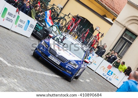ZAGREB, CROATIA - APRIL 24, 2016: - International cycling race Tour of Croatia 2016. - Stage 6. Tem vehicle on Upper town.