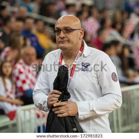 ZAGREB, CROATIA - APRIL 6, 2013: Men's European Championship Qualification 2 - Croatia VS Hungary. Former Croatian handball player Zlatko SARACEVIC.