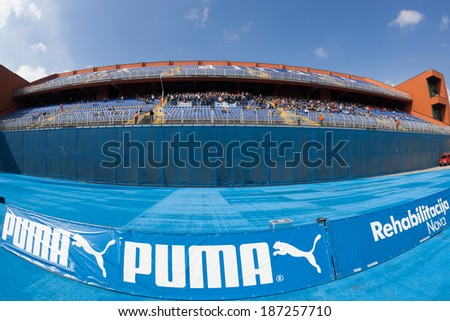 ZAGREB, CROATIA - APRIL 12, 2014: 1st Croatian Football League Championship - Dinamo VS Rijeka. View on the north stadium stand. - stock photo