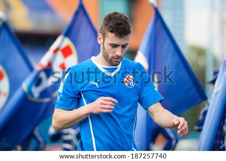 ZAGREB, CROATIA - APRIL 12, 2014: 1st Croatian Football League Championship - Dinamo VS Rijeka. Armada, Rijeka supporters on stands - stock photo