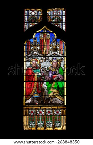 ZAGREB, CROATIA - APRIL 04,2015:St Quirinus of Sescia and Blessed Agostino Gasotti, stained glass in Zagreb cathedral dedicated to the Assumption of Mary and to kings Saint Stephen and Saint Ladislaus - stock photo