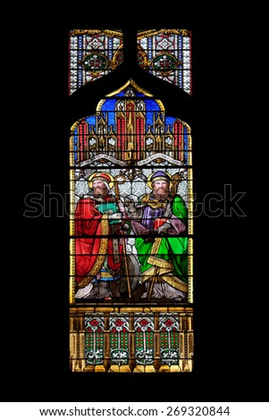 ZAGREB, CROATIA - APRIL 04,2015: St Quirinus of Sescia and Blessed Agostino Gasotti, stained glass in Zagreb cathedral dedicated to the Assumption of Mary and to kings Saint Stephen and Saint Ladislaus - stock photo
