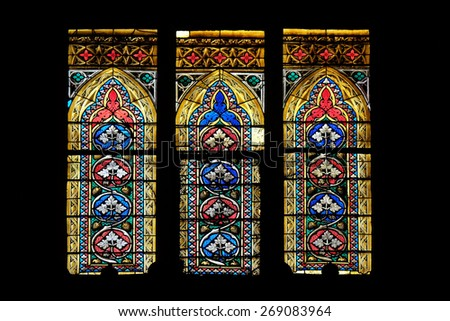 ZAGREB, CROATIA - APRIL 04: Stained glass in Zagreb cathedral dedicated to the Assumption of Mary and to kings Saint Stephen and Saint Ladislaus in Zagreb on April 04, 2015 - stock photo