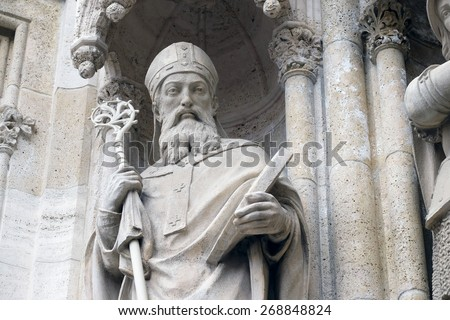 ZAGREB, CROATIA - APRIL 04: Statue of Saint Methodius on the portal of the cathedral dedicated to the Assumption of Mary and to kings Saint Stephen and Saint Ladislaus in Zagreb on April 04, 2015