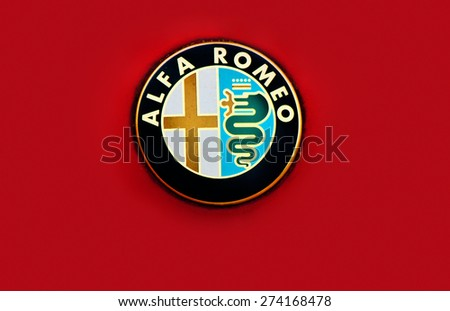 ZAGREB , CROATIA - April 30th , 2015 : Alpha Romeo car manufacturer sign on the front of the car  ,product shot - stock photo