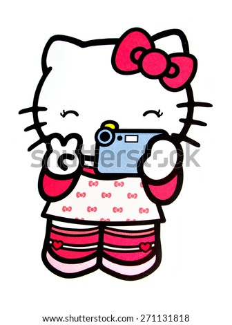 ZAGREB , CROATIA - April 20th , 2015 :  Hello kitty children cartoon character stickers  ,product shot - stock photo